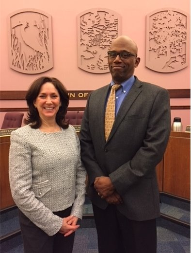 New Town Board members Sabrina Fiddelman and Jeffery King